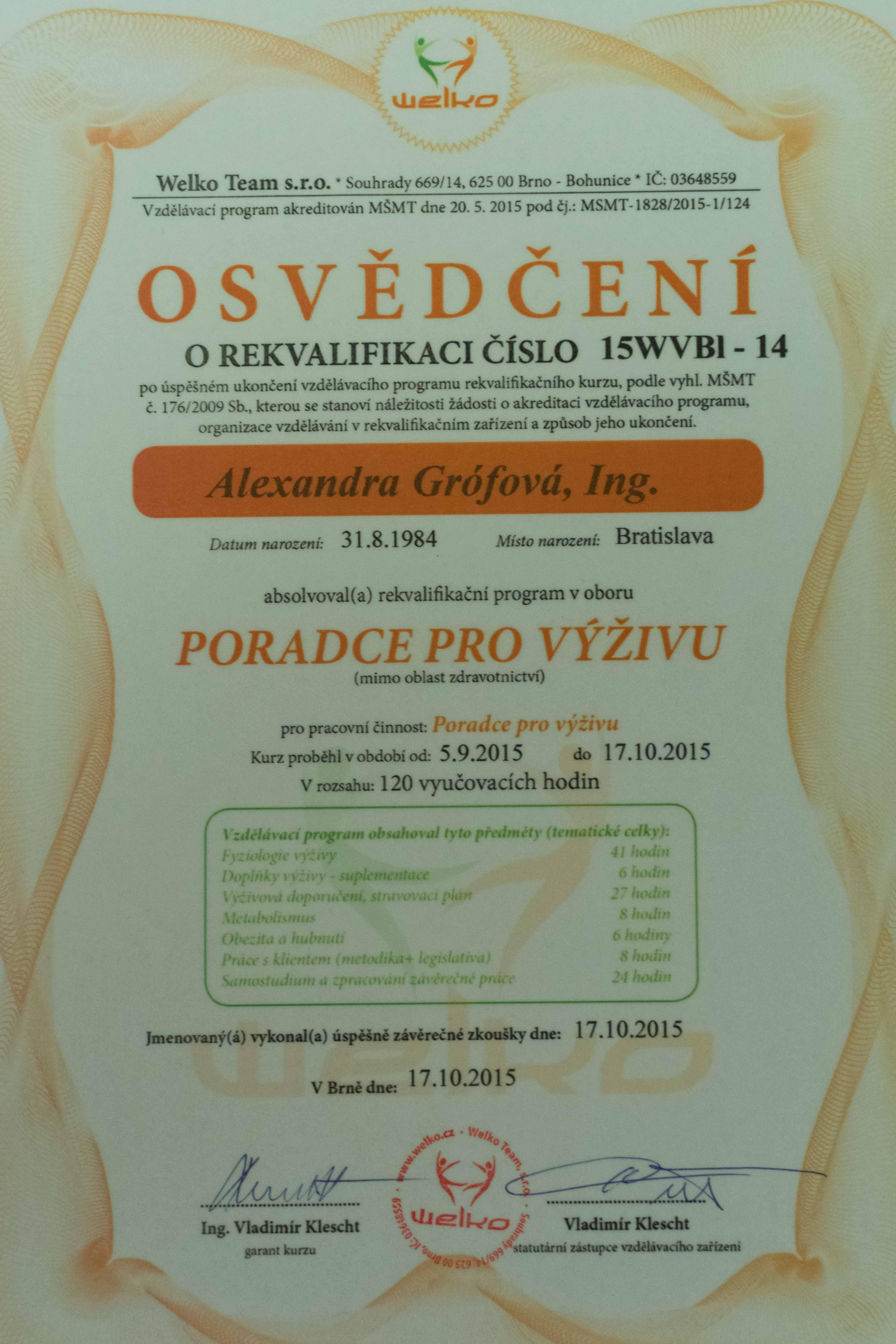 Certifikát výživového poradcu - Alexandra Grófová